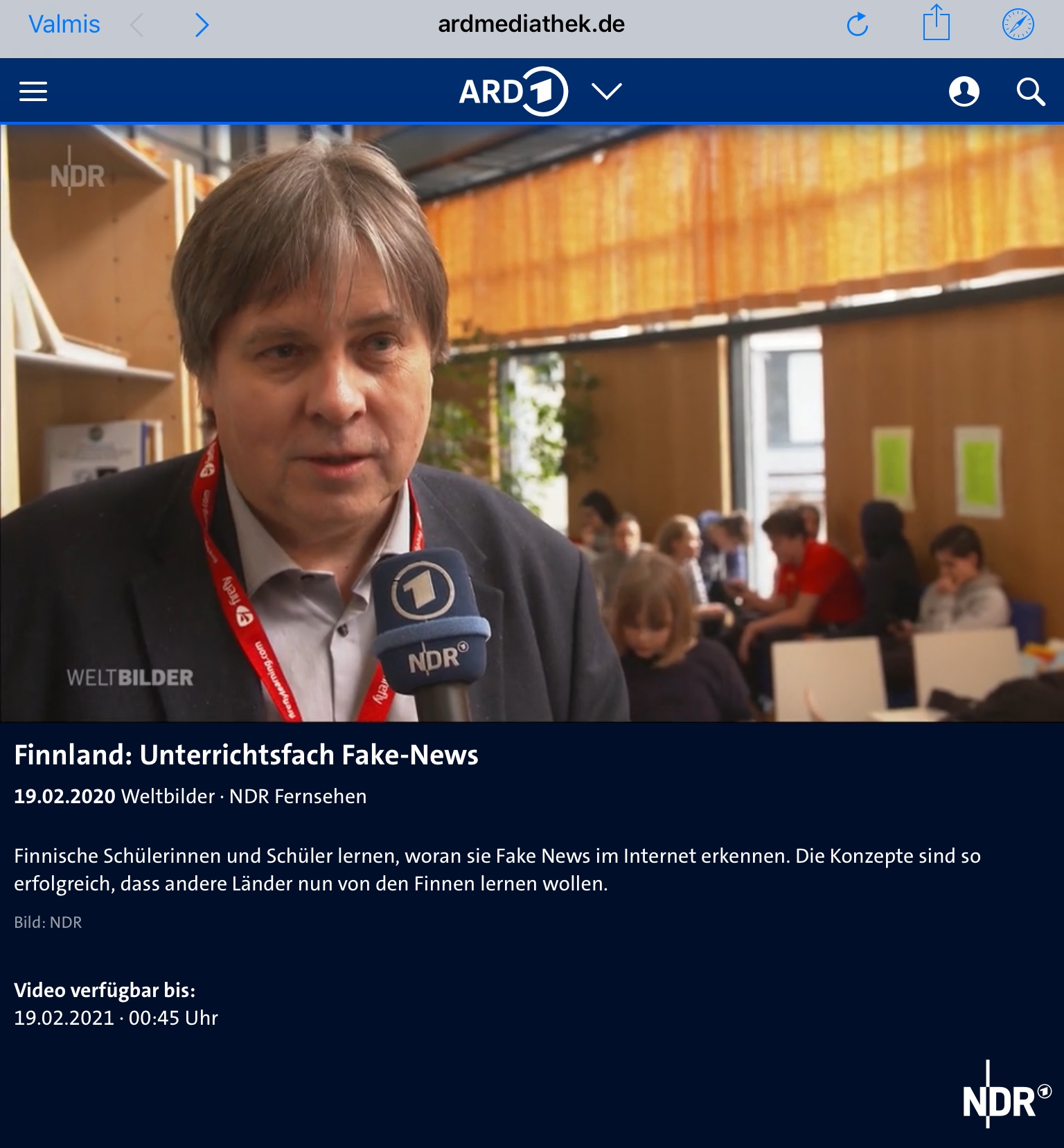 NDR/ARD1 reported about the Finnish media- and information literacy education
