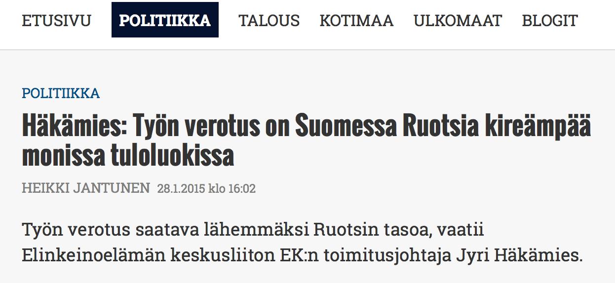 Häkämies: Työn verotus on Suomessa Ruotsia kireämpää monissa tuloluokissa
