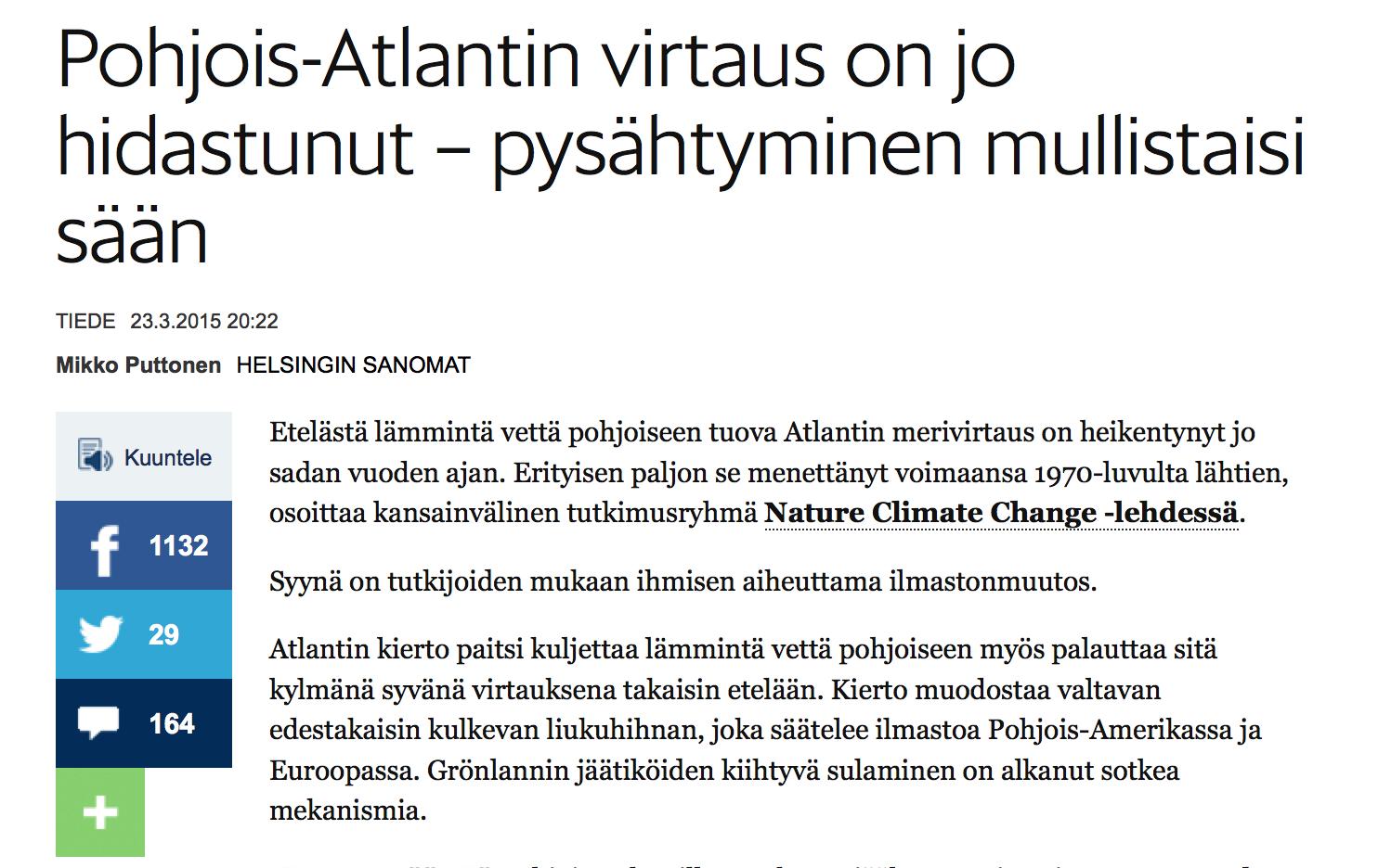 HS: Atlantin merivirta hidastunut ihmisen aiheuttaman ilmastonmuutoksen vuoksi