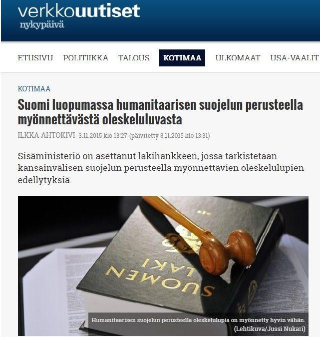 Verkkouutiset: Suomi luopumassa humanitaarisen suojelun perusteella myönnettävästä oleskeluluvasta