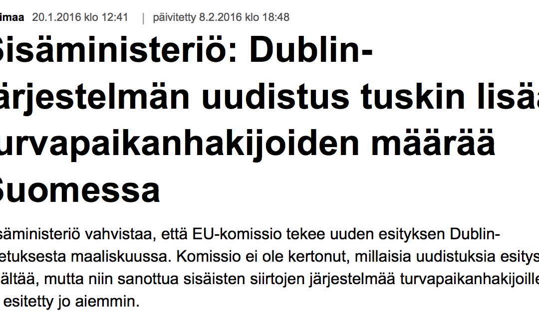 """Yle: """"Dublin-asetuksen mukaan turvapaikanhakijan pitää rekisteröityä ja hänen asiansa käsitellä siinä EU-maassa, johon hän saapuu ensimmäisenä"""""""