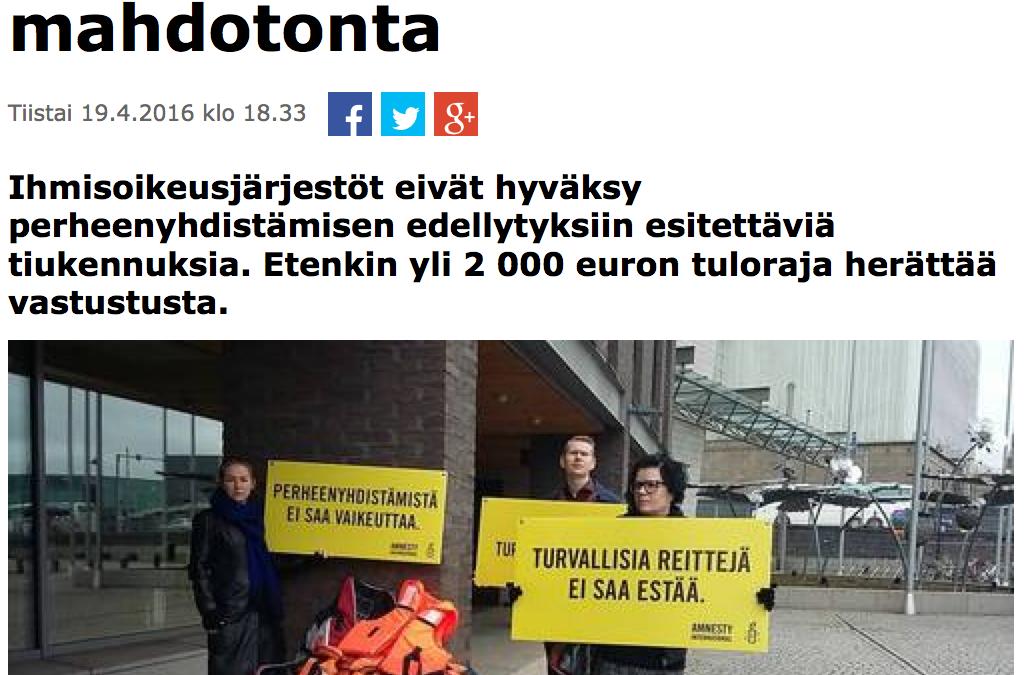 Kaisa Väkiparta: Vuonna 2013 vain yhdelle turvapaikan saaneen huoltajalle myönteinen perheenyhdistämispäätös
