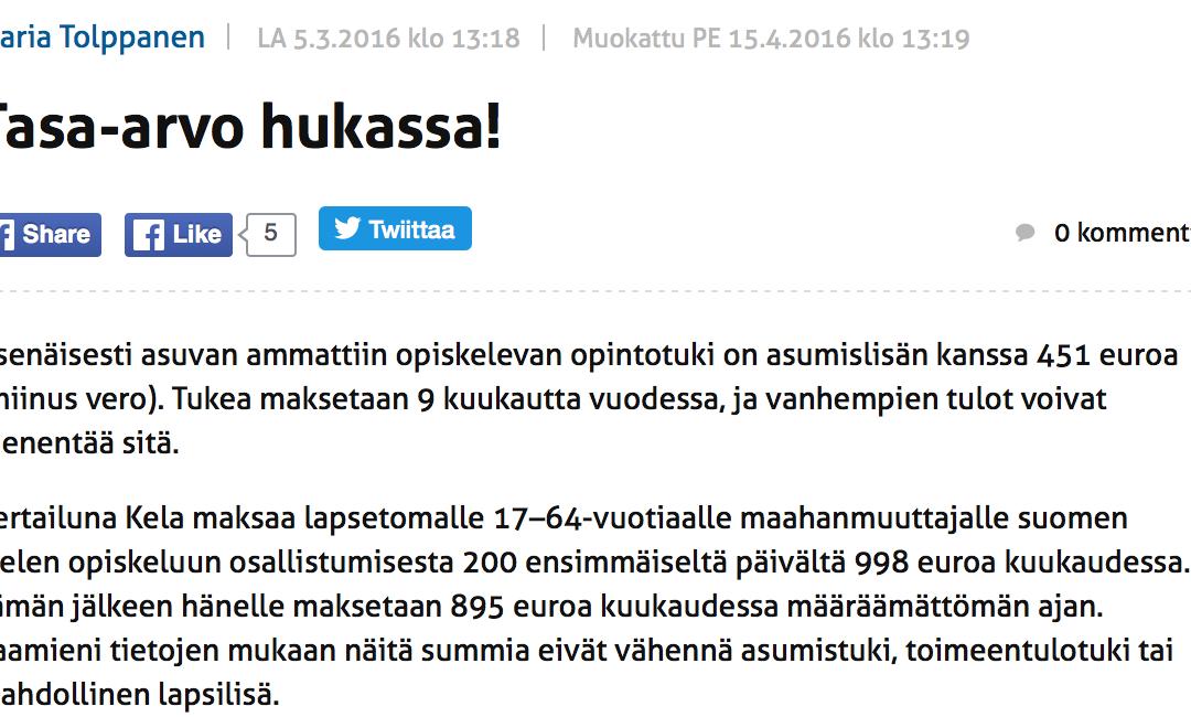 Maria Tolppanen: Kelalta lapsettomalle 17–64-vuotiaalle maahanmuuttajalle suomen opiskelusta 200 ensimmäiseltä päivältä 998 euroa kuussa
